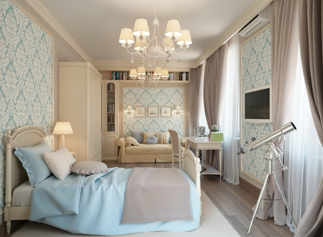 In the master bedroom suite, feminine fleur-de-lis wallpaper in powder ...