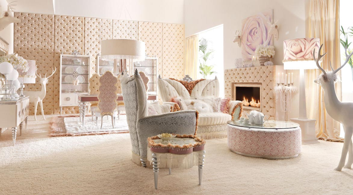 ... Room Designs by ALTAMODA » Luxurious Baby Pink and White Living Room