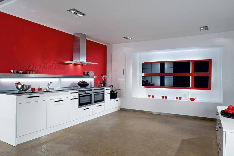 ... Kitchen Designs from Bauformat » Modern Red & White Kitchen Design