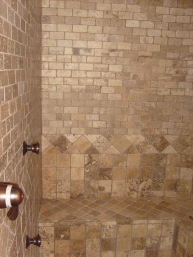 Brown Travertine Tile Bathroom Wall Design. Bathroom Flooring Design ...