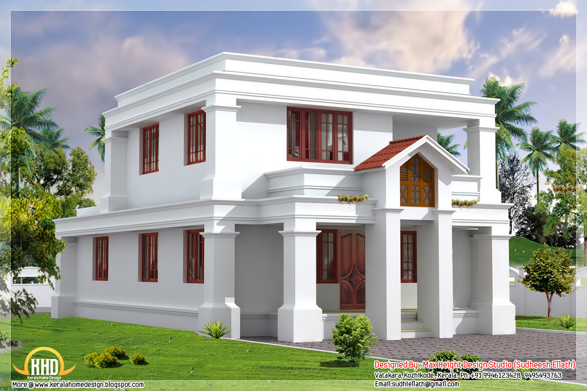 Cute flat roof indian home elevation - 1630 Sq.Ft. - Kerala home ...
