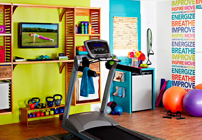 Home gym with treadmill