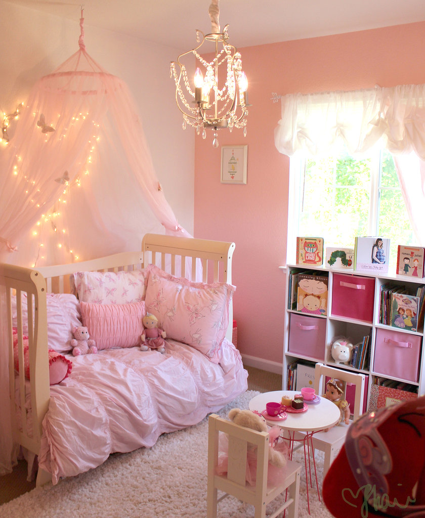 Beautiful Peach and Pink Princess Toddler Girls Room Design with White ...