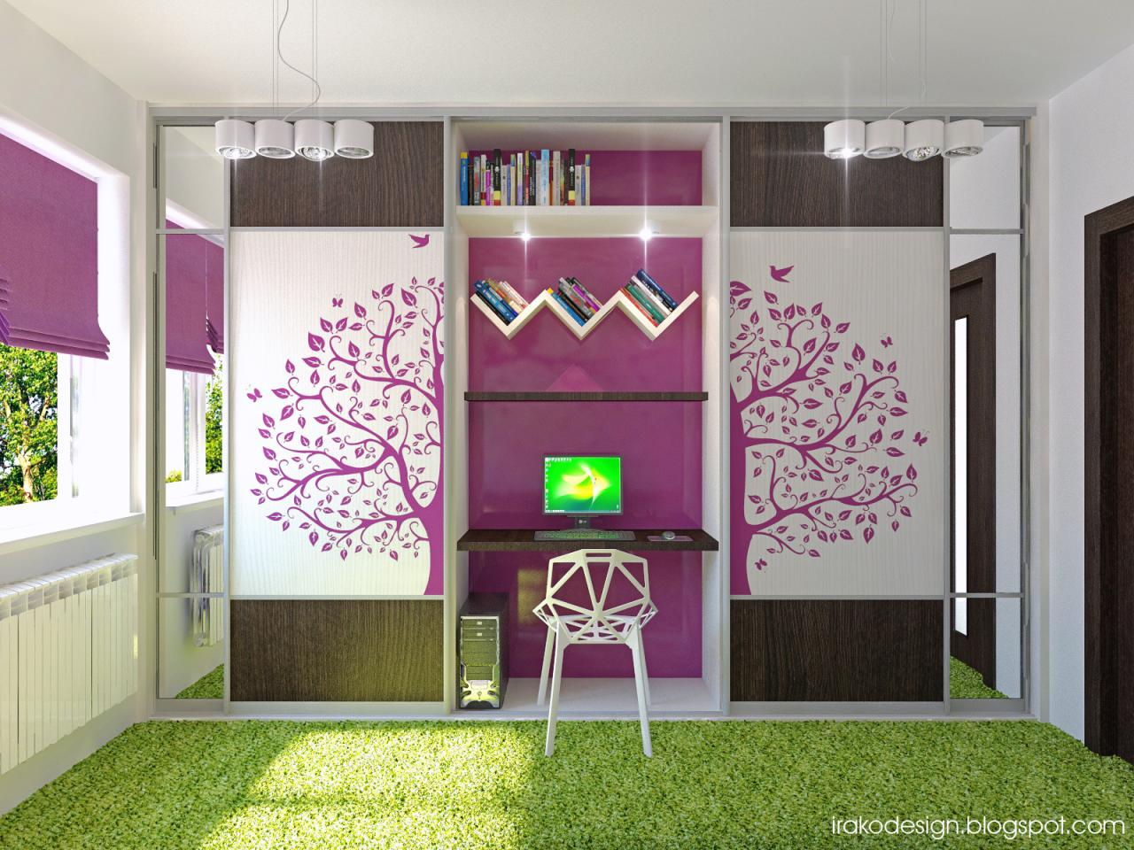 General : Purple White Green Girls Room Teenage Girl Room Design Ideas ...