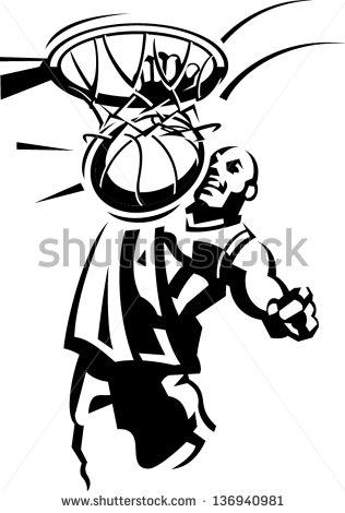 Basketball Slam Dunk Stock Vector 136940981 : Shutterstock