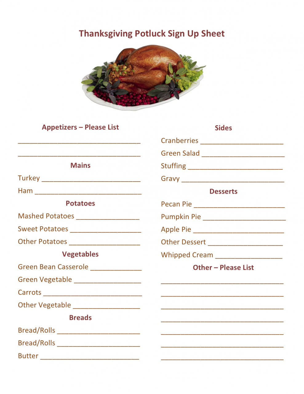 Thanksgiving Potluck Sign Up Printable | HMH Designs