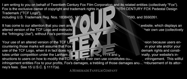 "Custom ""Twentieth Century Fox"" Logo)"