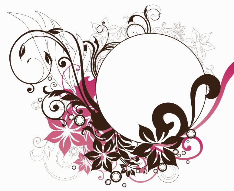 Name: Circle Frame with Floral Decorations Vector Graphic