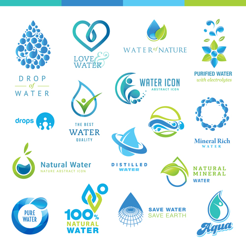 Free EPS file Creative water logos design material 01 download