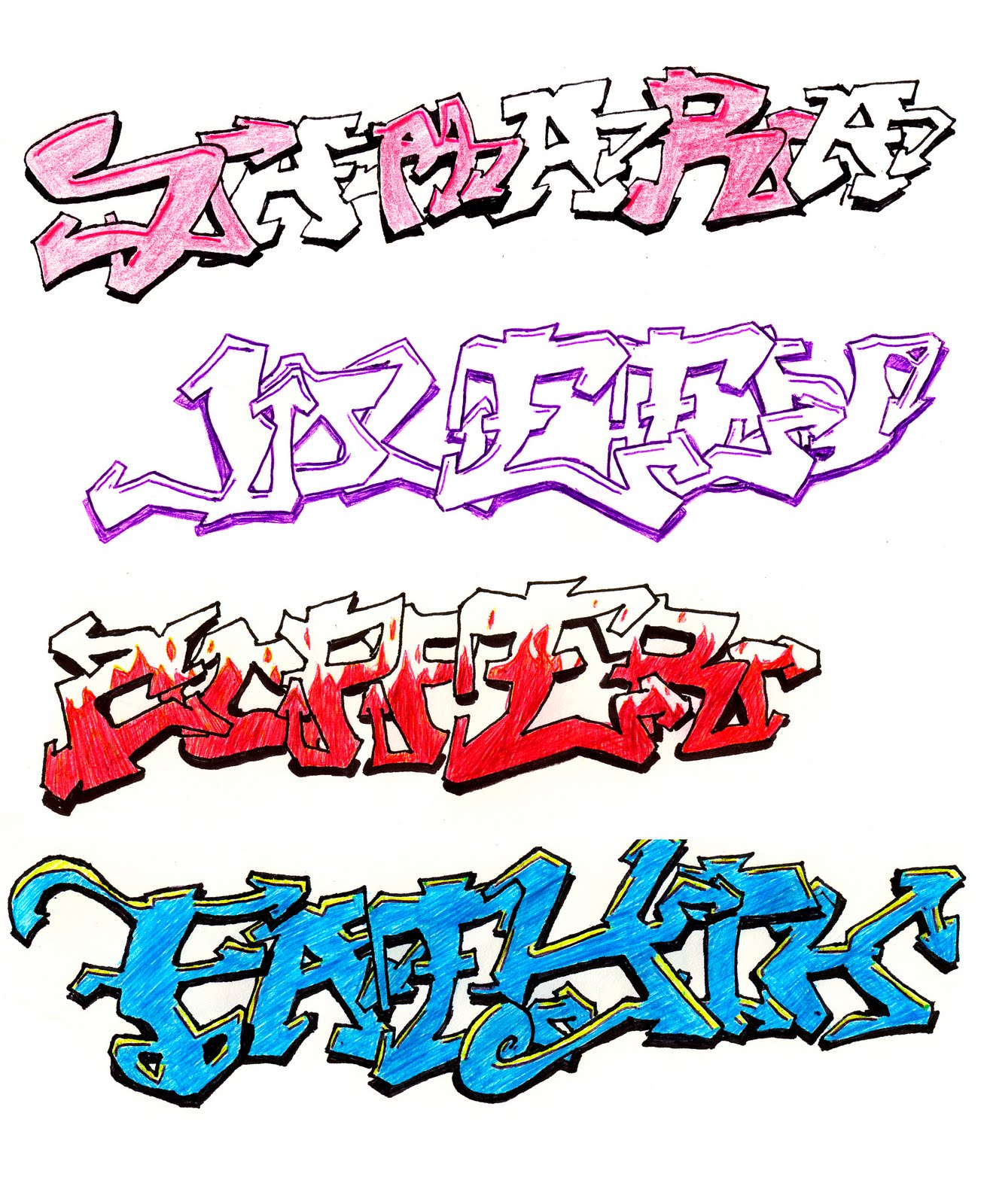 Steps of How to Draw Graffiti Names?