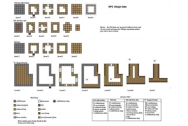 Minecraft Floor plans NPC village buildings Minecraft Project