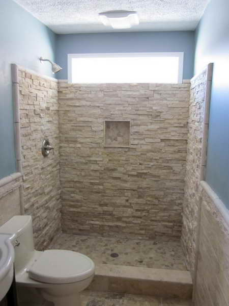 ... Designs with Tile > Unique Bathroom Tile Designs With A Stone Wall