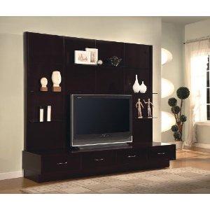 ... Furniture Contemporary Design Walnut Finish Media Storage TV Stand