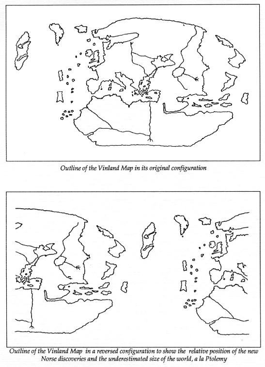 The Vinland map detail: Vinland, Western Europe/Africa, Azores ...