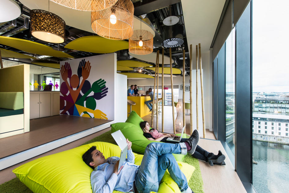 Bean bag' seating, shown here, enables employees to kick back and ...