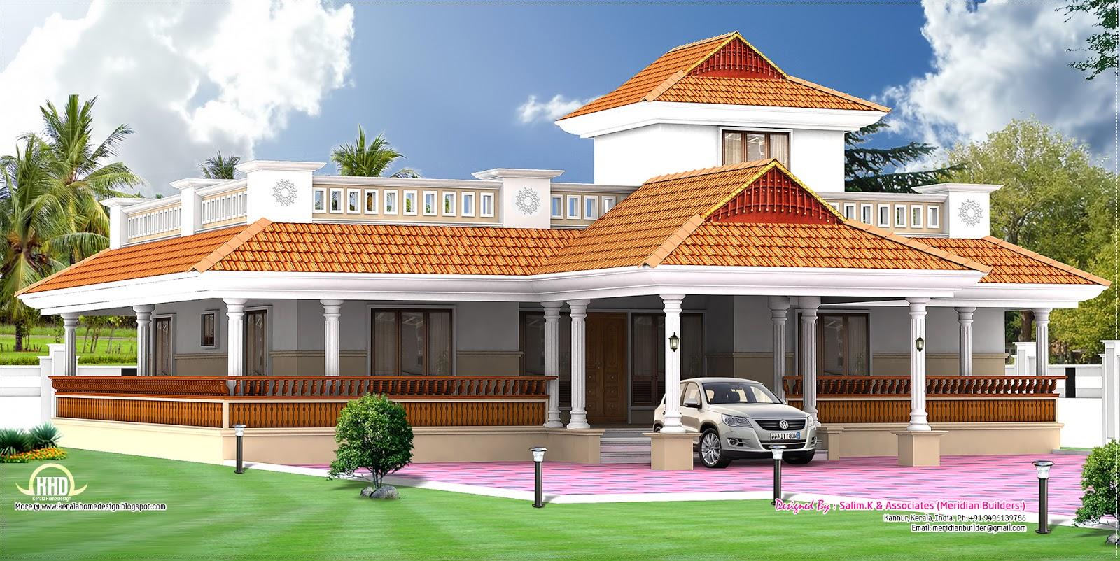 Kerala style vastu oriented 2 bedroom single storied residence | House ...