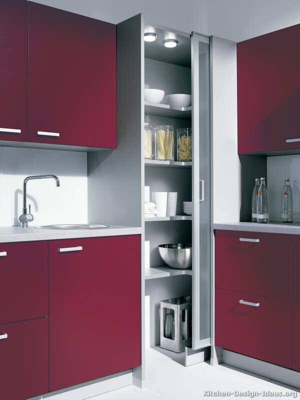 Pictures of Kitchens - Modern - Red Kitchen Cabinets (Kitchen #7)