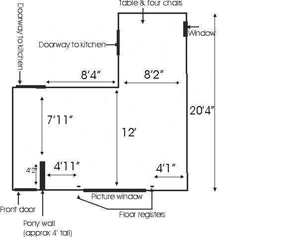... help please....I need to arrange a small L-shaped living/dining room