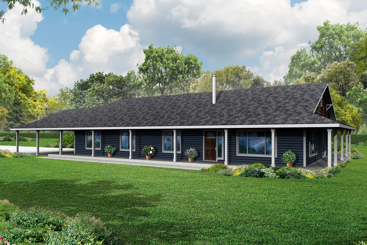 ... Around Porch Frames the Madrone Ranch House Plan - Associated Designs