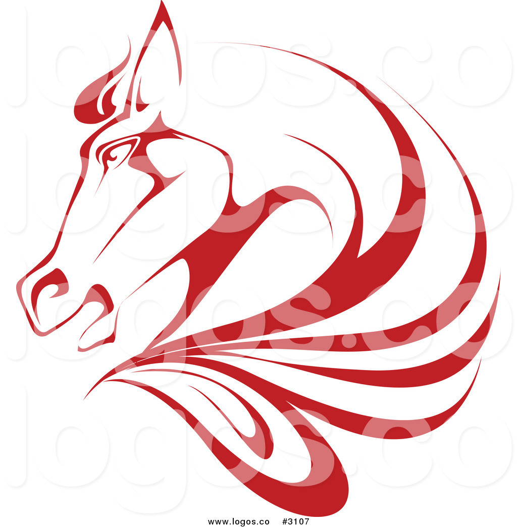 red horse head profile logo logo of a black and white horse head ...